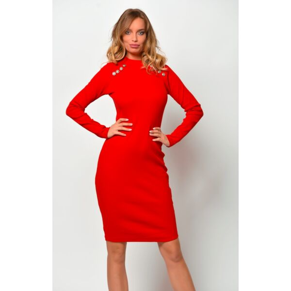 Félgarbós gombokkal díszített piros ruha
