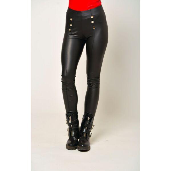 Bőr hatású fekete leggings díszgombokkal