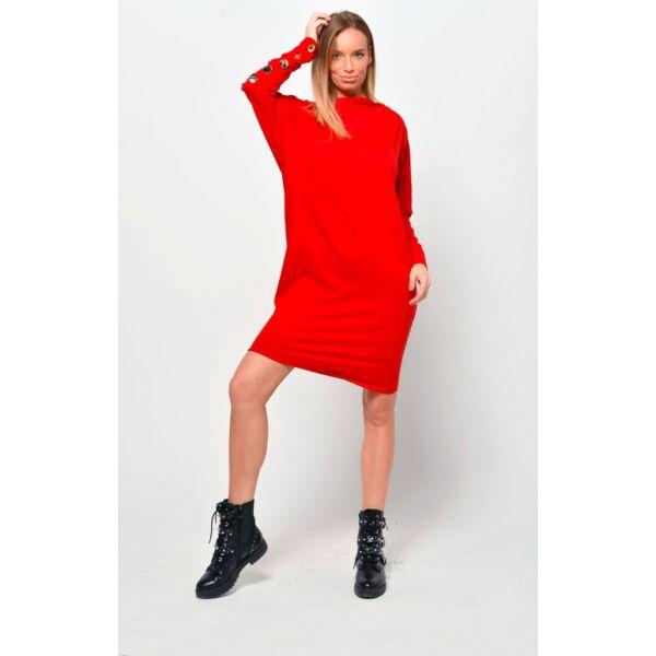 Ujjain díszgombos lezser fazonú piros ruha