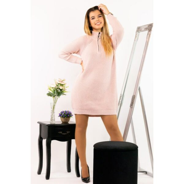 Félcipzáros garbós puder színű pulóver
