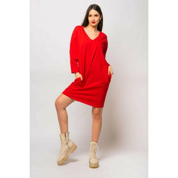 V nyakú laza fazonú piros ruha