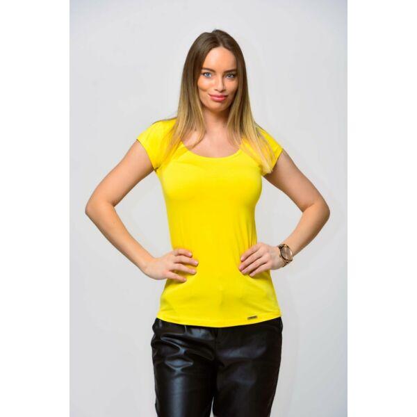 Mély kerek nyakú sárga póló