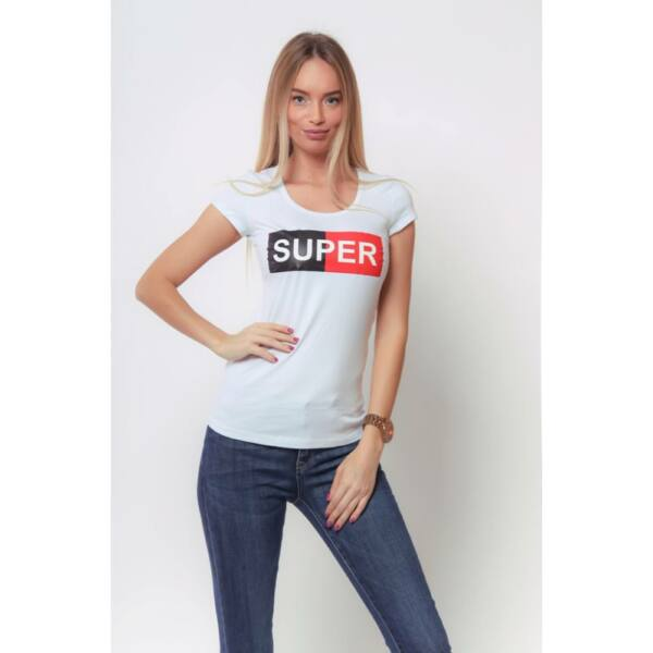 SUPER feliratos fehér póló