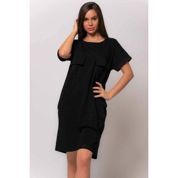 Fekete bő fazonú ruha,mellén díszzsebekkel
