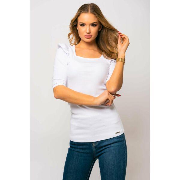 Bordás anyagú,fehér puffos 3/4 ujjú póló