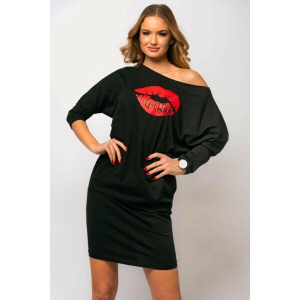Fekete, nyomatos zsebes ruha