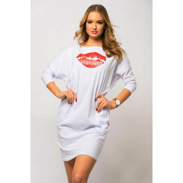 Fehér, nyomatos zsebes ruha