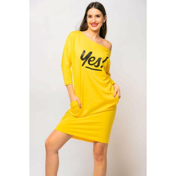 Yes nyomatos sárga zsebes ruha