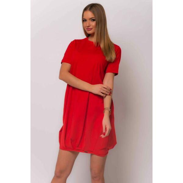 Zsebes alján gumis piros ruha