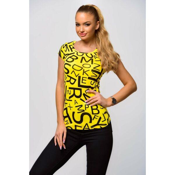 Betűkkel nyomott sárga póló