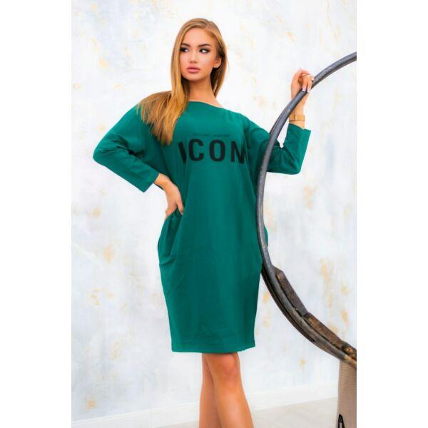 ICON feliratú sötétzöld laza ruha