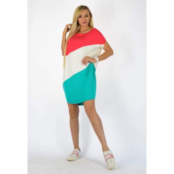Félvállas korall-fehér-zöld  tunika/ruha