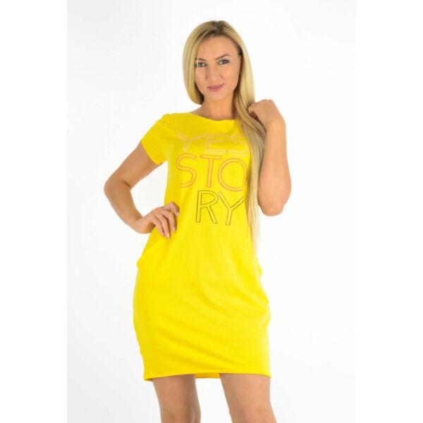 Nyomott mintás kis zsebes sárga ruha/tunika