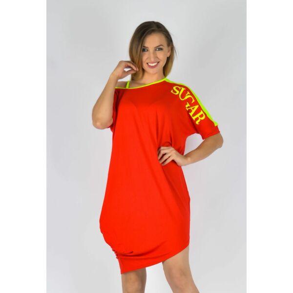 Félvállas SUGAR feliratú piros ruha/tunika