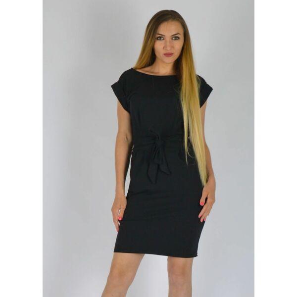 Zsebes fekete színű ruha