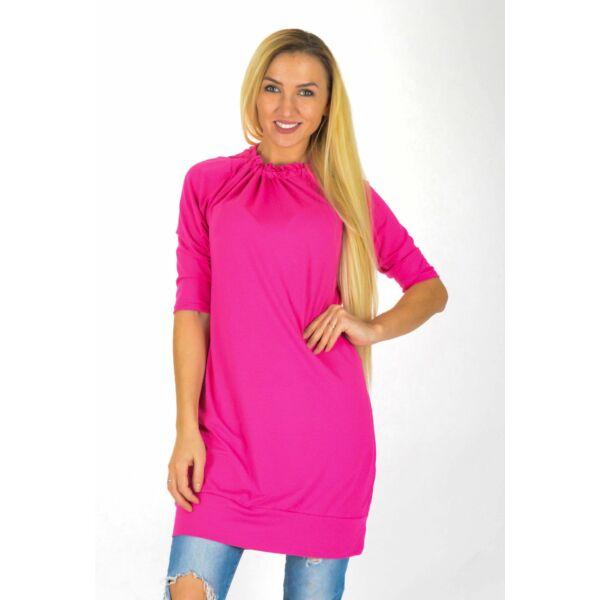 Nyakán húzott pink ruha/tunika