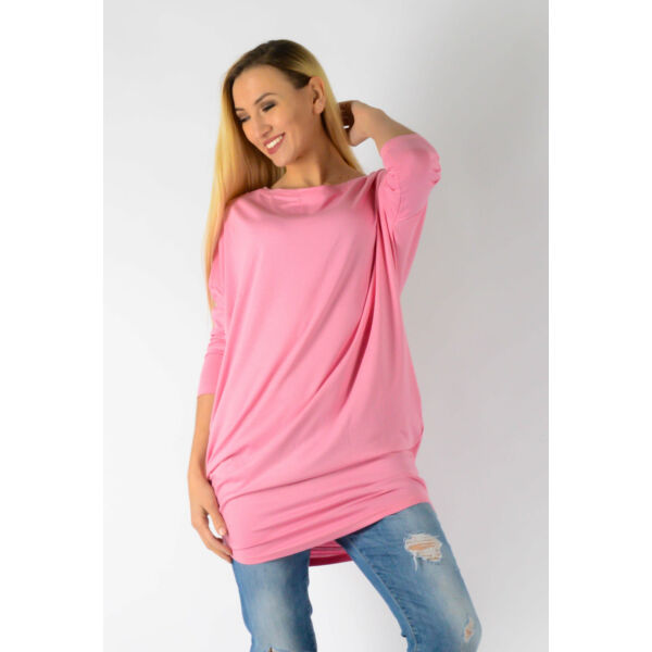 Ejtett vállú rózsaszín tunika