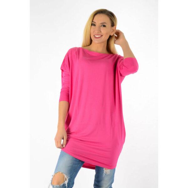 Ejtett vállú pink tunika