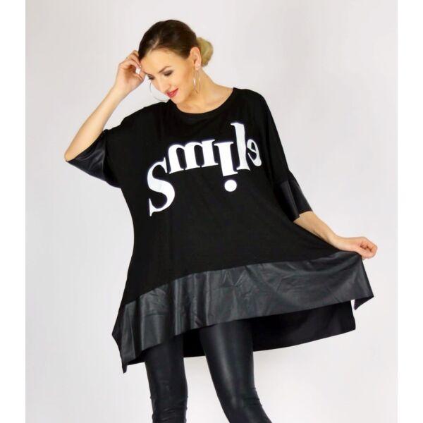 Fekete SMILE feliratos extra bő fazonú felső/tunika