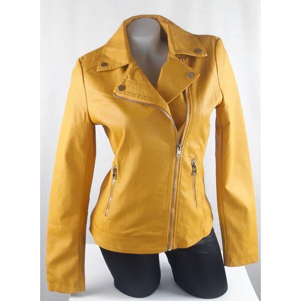Mustár sárga műbőr dzseki
