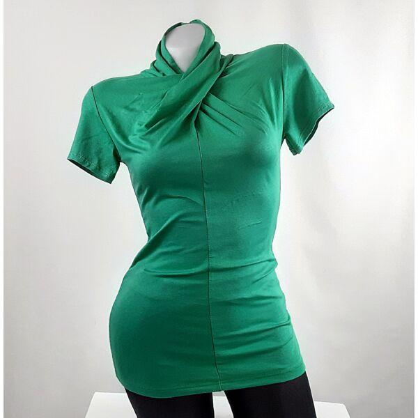 Zöld félgarbós csavart nyakú felső
