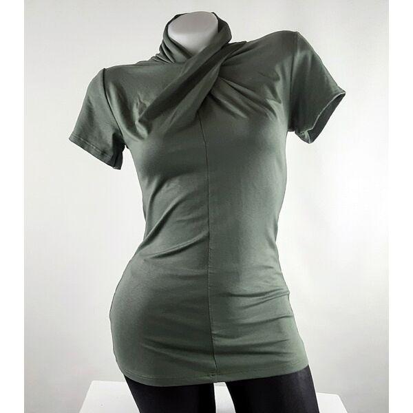 Khaki zöld félgarbós csavart nyakú felső