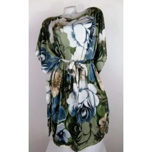 Zöld alapon virágmintás lepel ruha