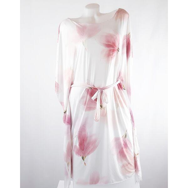 Fehér alapon virágmintás lepel ruha