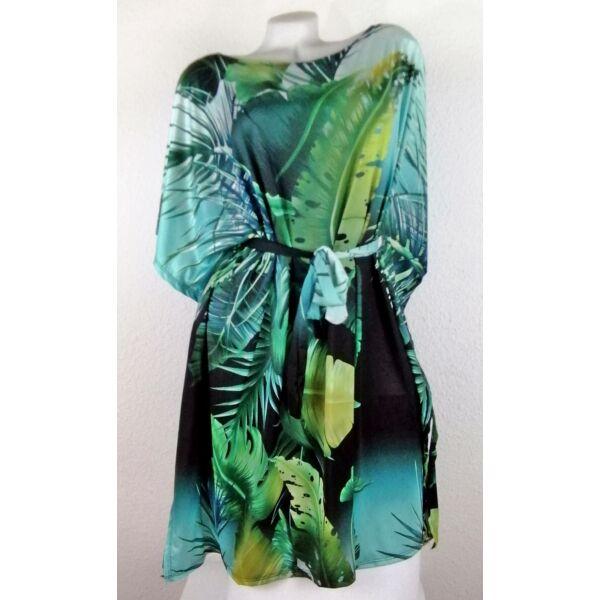 Zöld alapon levélmintás lepel ruha
