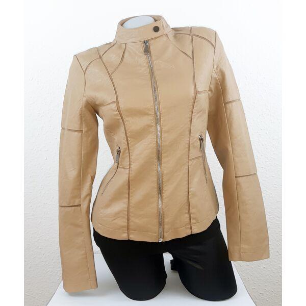 Állónyakú,cipzáros barna műbőr dzseki