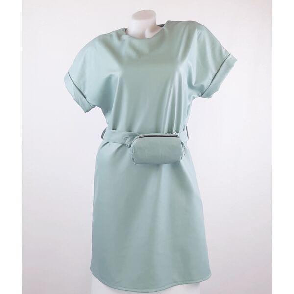 Műbőr  menta zöld mini ruha ,kis táskával