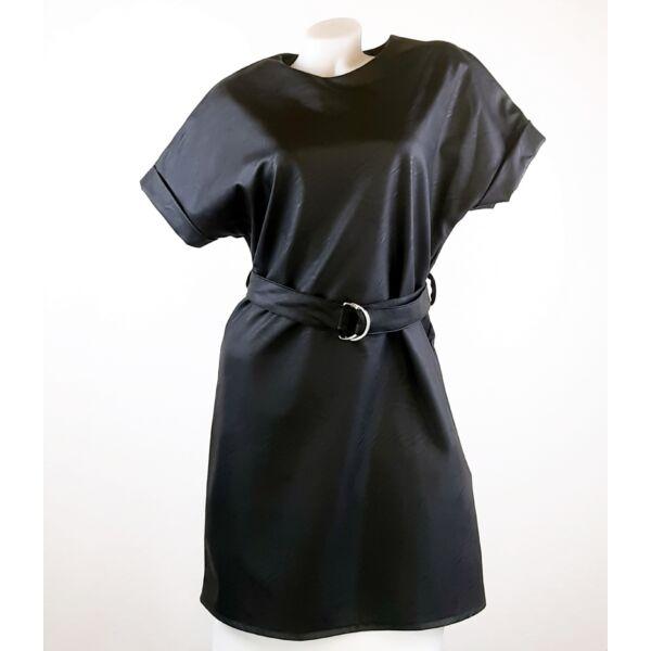 Műbőr  fekete mini ruha ,kis táskával