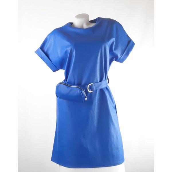 Műbőr királykék mini ruha ,kis táskával