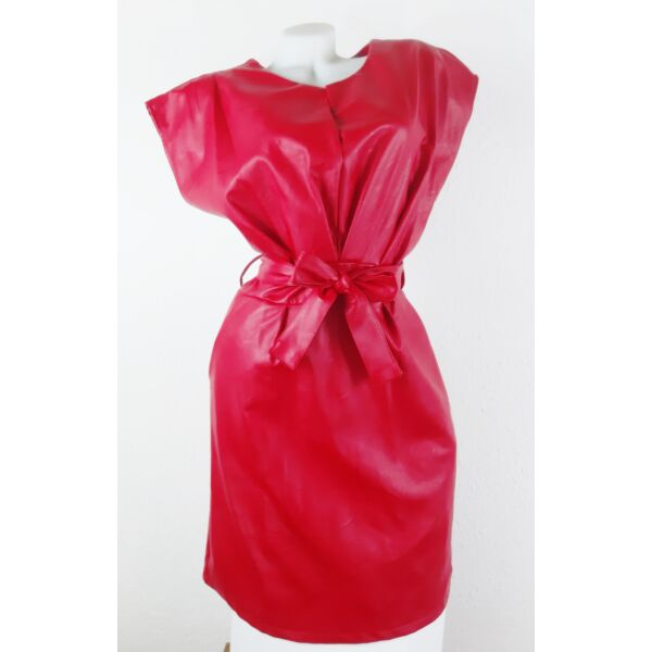 Műbőr piros mini ruha