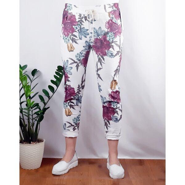 Virágos  elasztikus pamut  nadrág