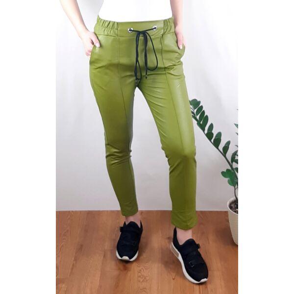 Pisztácia zöld gumis derekú műbőr nadrág