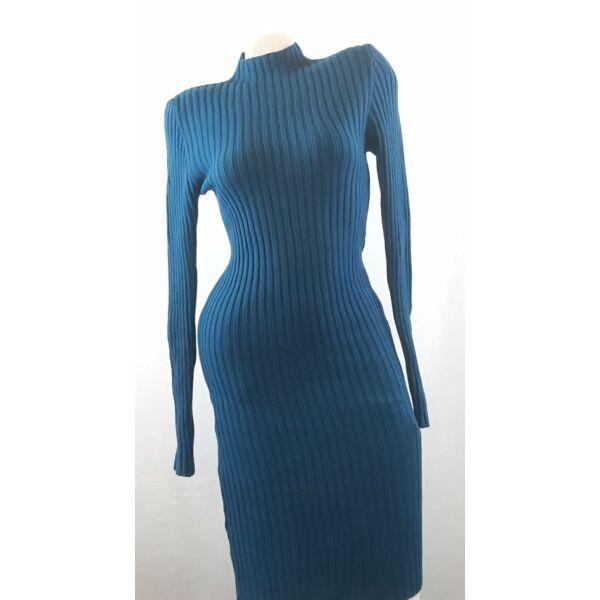 Bordás kötött testhezálló petrol kék ruha