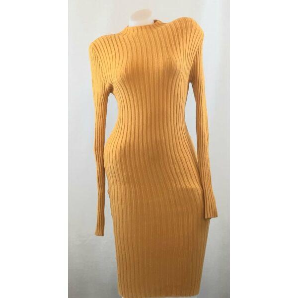 Bordás kötött testhezálló mustár sárga ruha