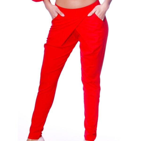 Átlapolt pamut piros nadrág