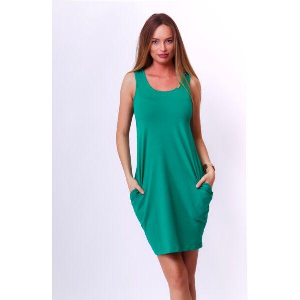 Hátul keresztpántos zöld  ruha