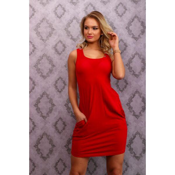 Hátul keresztpántos piros ruha