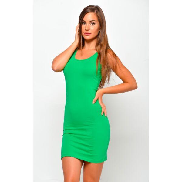 Hátul keresztpántos zöld  mini ruha