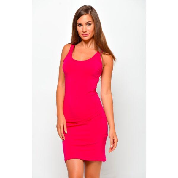 Hátul keresztpántos pink mini ruha