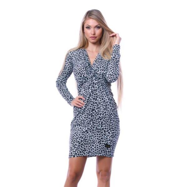 Elől csavart szürke leopárdmintás ruha