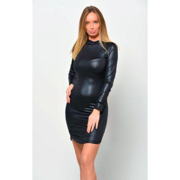 Félgarbós fekete latex hatású ruha