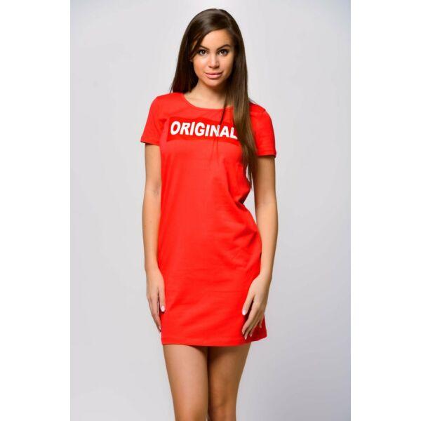 Original fellratos korallszínű póló ruha