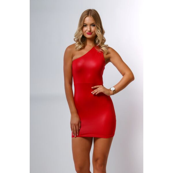 Félvállas piros mini ruha