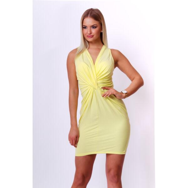Csavart elejű sárga ruha