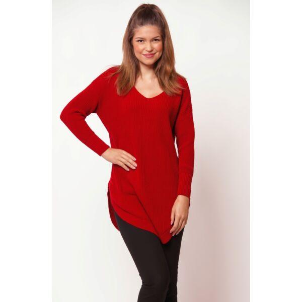 V nyakú kerekített aljú piros pulóver