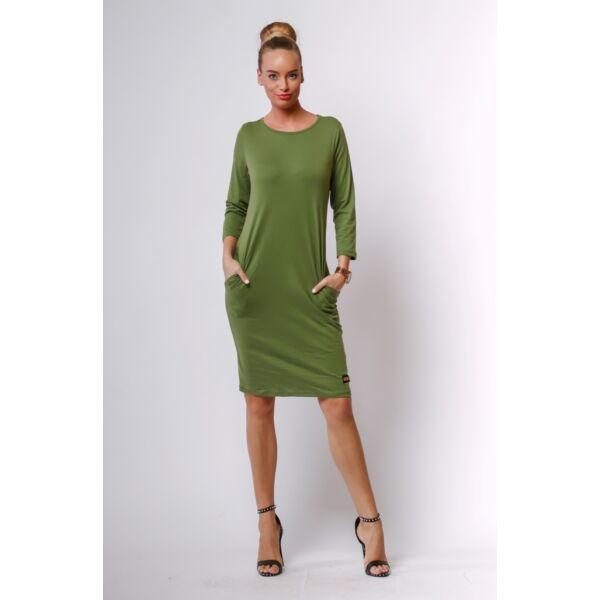Khaki zöld midi ruha